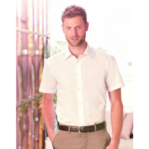 Russell Collection Short Sleeve Tailored Poplin Shirt