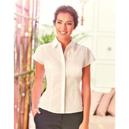 Russell Collection Ladies Cap Sleeve Fitted Poplin Shirt