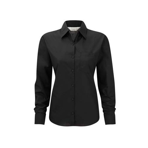 Russell Collection Ladies Long Sleeve Easy Care Poplin Shirt