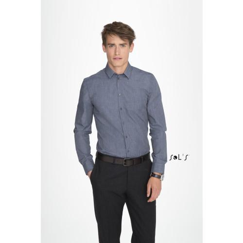 SOL'S BARNET Men's Long Sleeve Heather Poplin Shirt