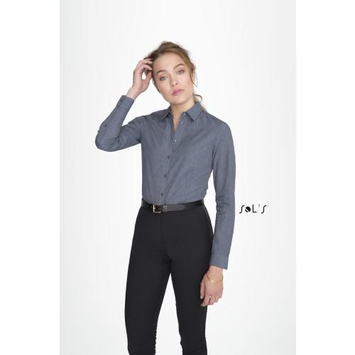 SOL'S BARNET Women's Long Sleeve Heather Poplin Shirt