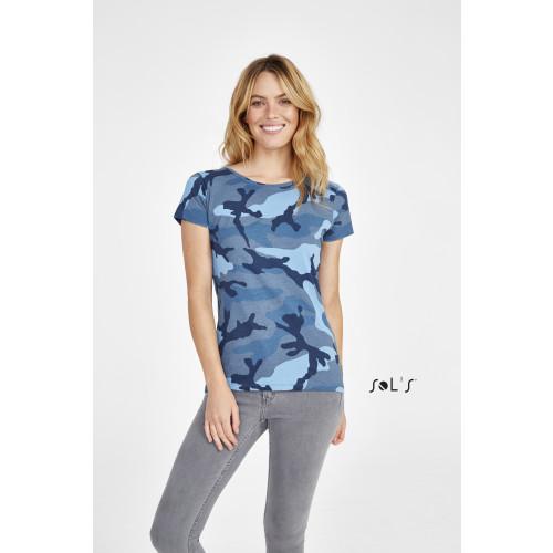 SOL'S CAMO Women's Round Collar T-shirt