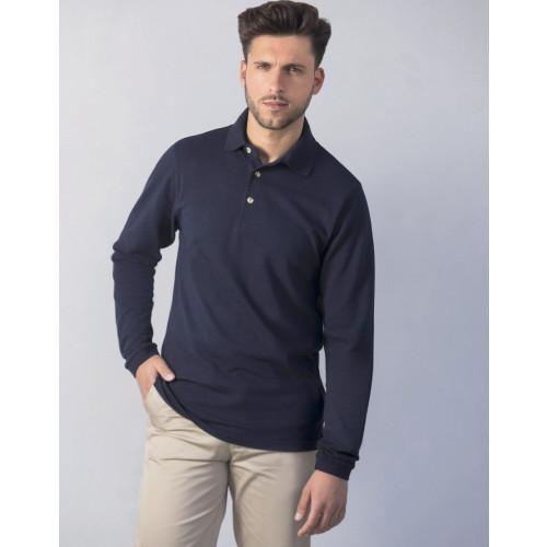 Long Sleeve Cotton Piqué Polo Shirt