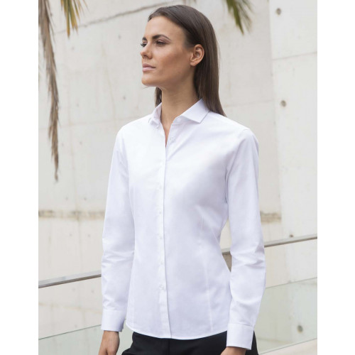 Henbury LADIES LONG SLEEVE STRETCH SHIRT
