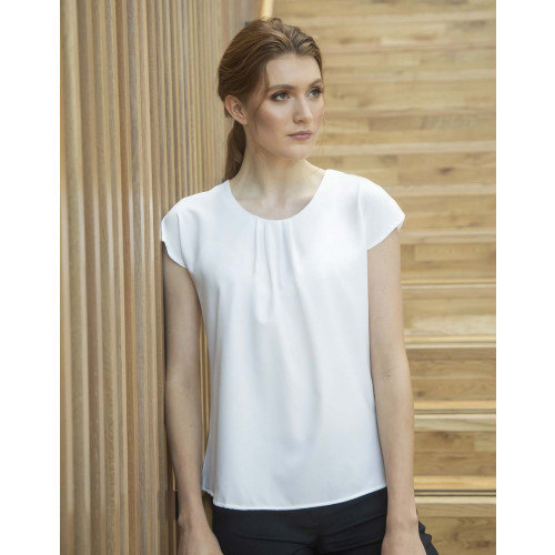 LADIES PLEAT FRONT S/S BLOUSE