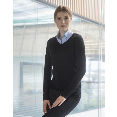 Ladies Lightweight Cotton Acrylic V Neck Sweater