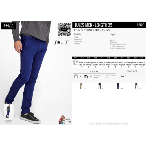 SOL'S JULES MEN - LENGHT 35 Chino Trousers