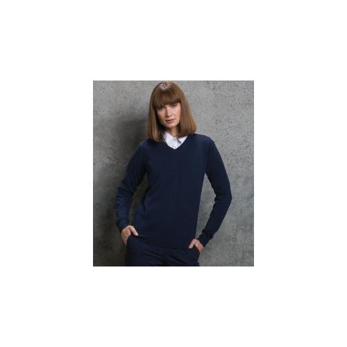 Ladies Arundel Cotton Acrylic V Neck Sweater