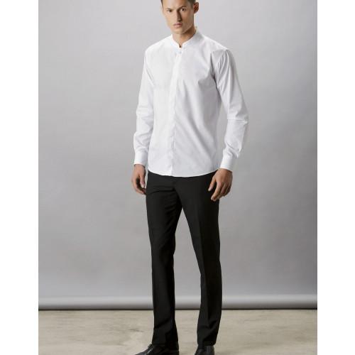 Kustom Kit Long Sleeve Mandarin Collar Shirt