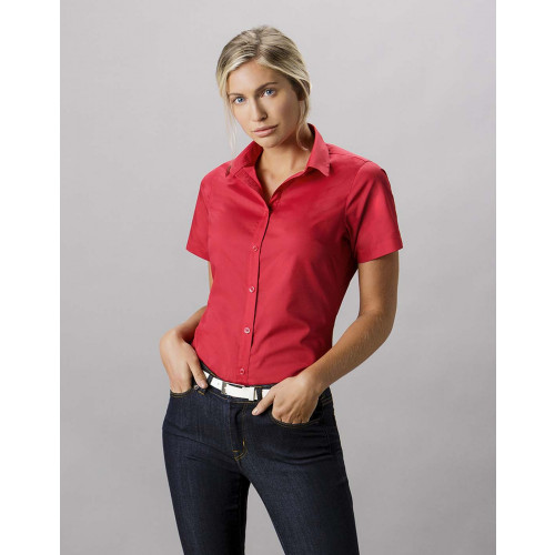 Ladies Short Sleeve Tailored Poplin Shirt