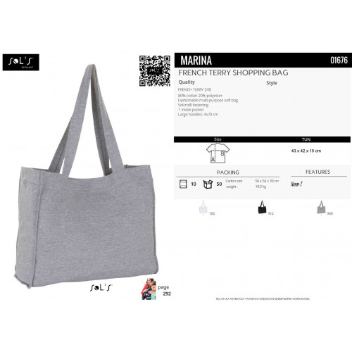 SOL'S MARINA French Terry Shopping Bag