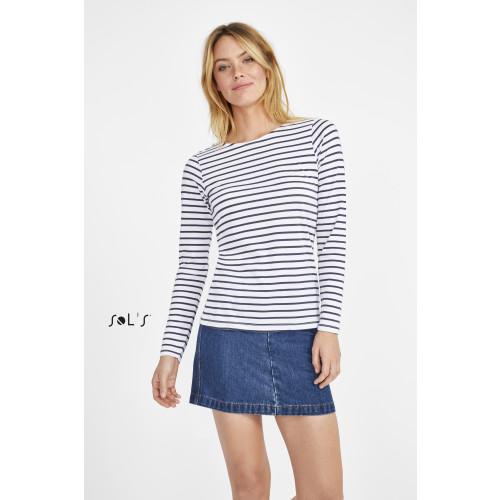 SOL'S MARINE Women's Long Sleeve Striped T-shirt