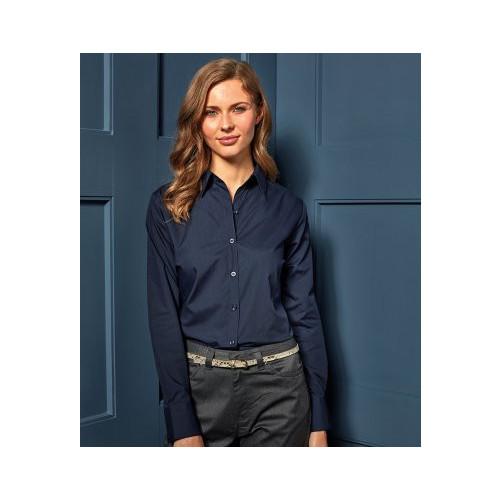 Premier Ladies Long Sleeve Poplin Shirt