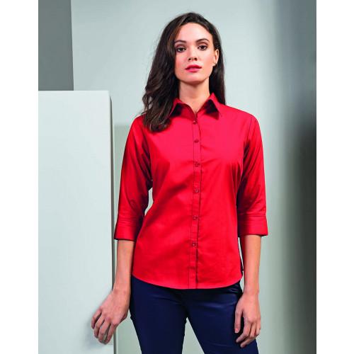 Premier Ladies 3/4 Sleeve Poplin Shirt