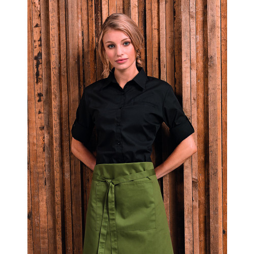 Ladies 'Roll Sleeve' Poplin Blouse
