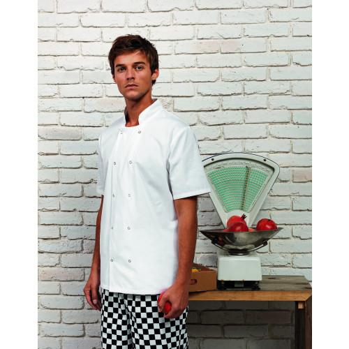 Unisex Short Sleeve Stud Front Chef's Jacket