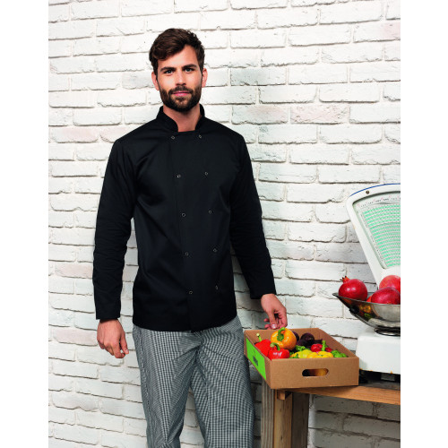 Unisex Long Sleeve Stud Front Chef's Jacket