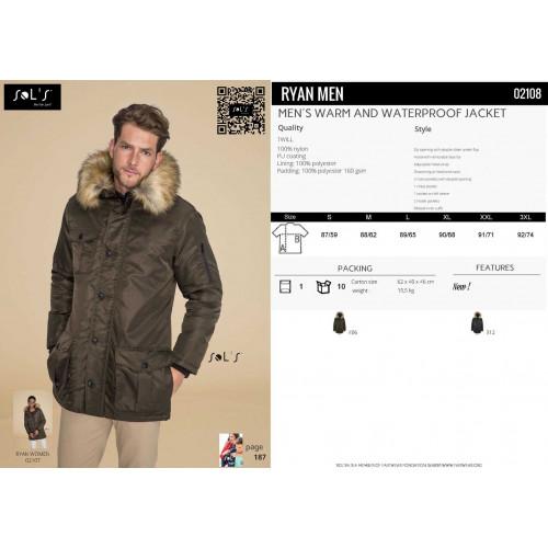 SOL'S RYAN MEN 's Warm and Waterproof Jacket