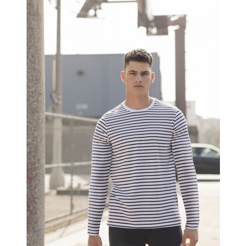 SKINNI FIT UNISEX LONG SLEEVED STRIPED T