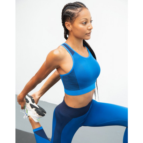 LADIES SEAMLESS PANEL CROP TOP