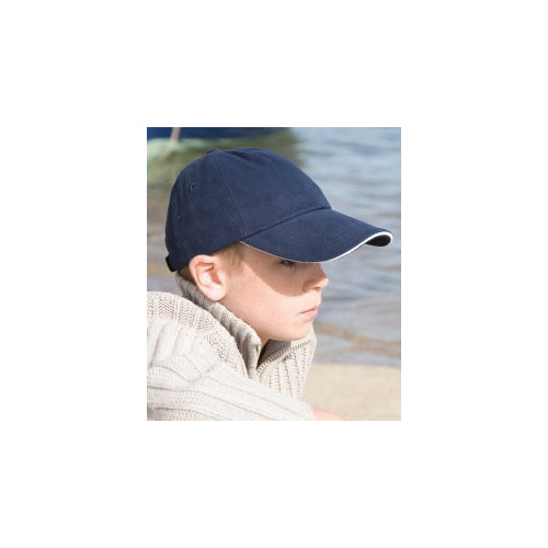Result Kids Contrasting colour Low Profile Heavy Brushed Cotton Cap